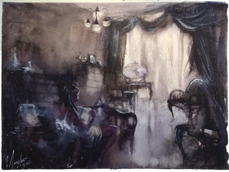 black-watercolor